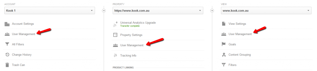 Google Analytics - Kook Account Property and View levels