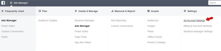 Facebook Ads Manager Menu