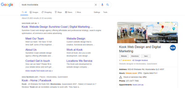 Kook Mooloolaba organic search results on Google