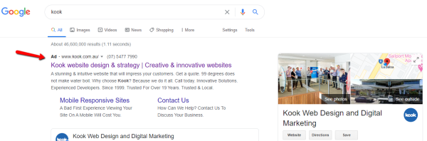 Kook Paid Search results on Google
