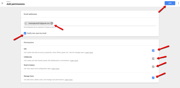 Google Analytics Add Permissions Screen - New